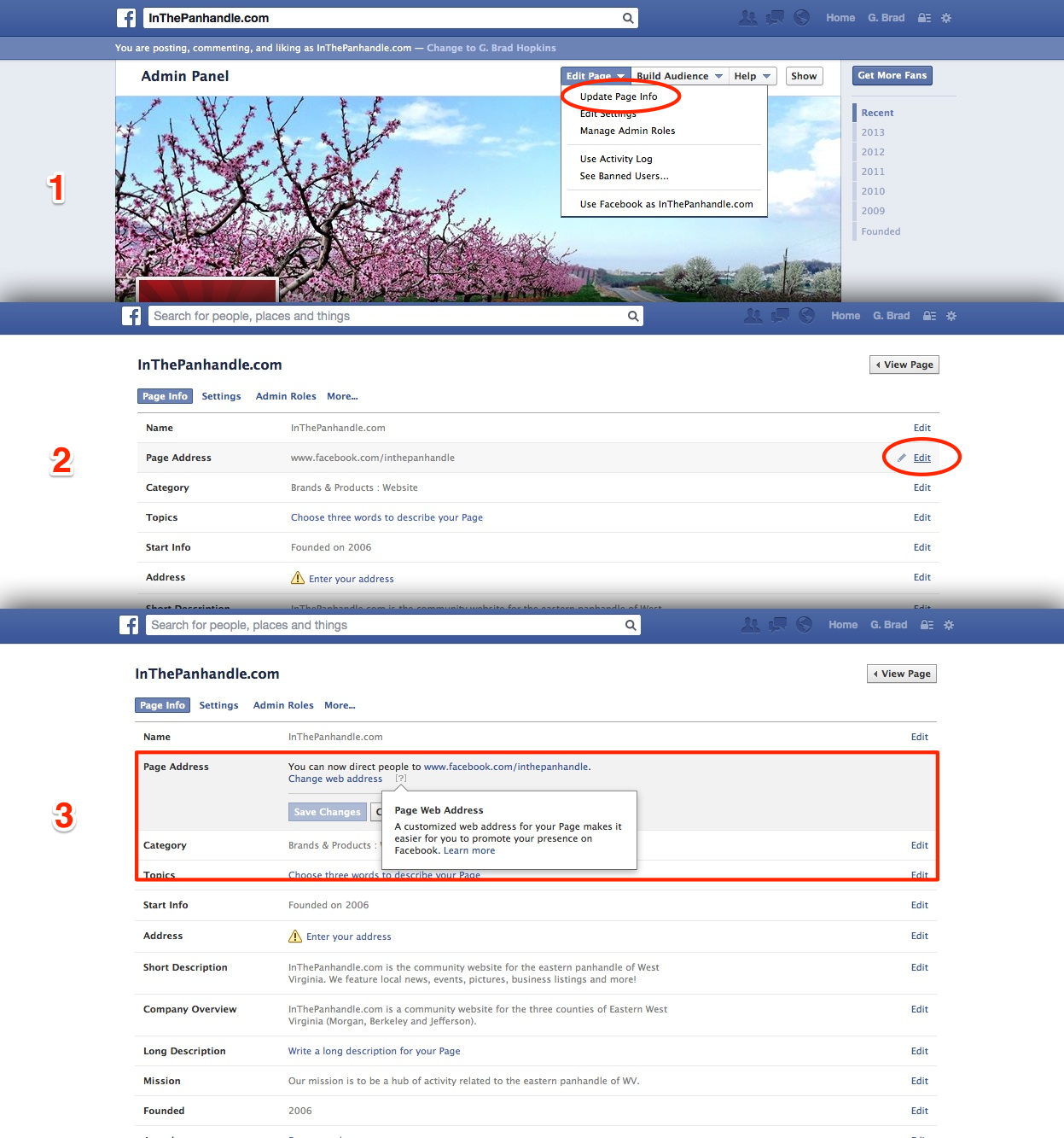 Creating a Facebook Page Address