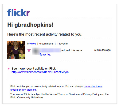 Creepy flickr notification